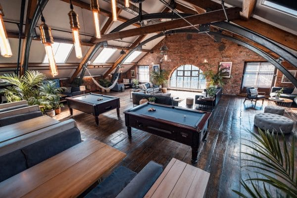 Upper Lounge with pool tables and booths