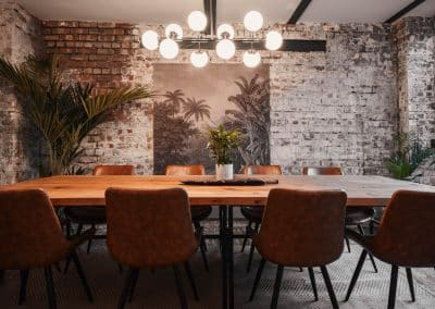 Meeting room table with leather chairs