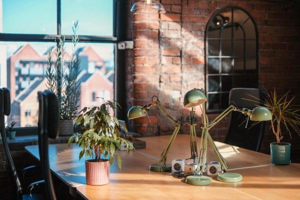 Coworking desks with Manchester view